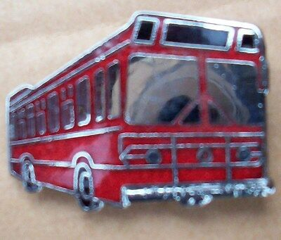 Lynx Style Single Deck Bus Old Hard Glass Enameled Lapel Pin Badge Chrome Plated
