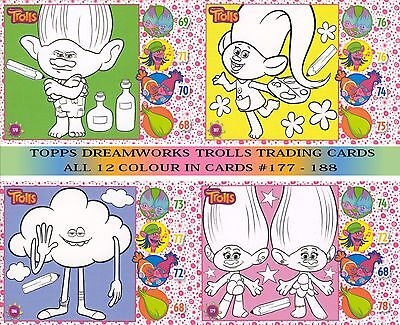 Topps Trolls Trading Card Collection - Full Set Of 12 Colour In Cards