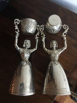 Antique Solid Silver 2 Ladies Wager Cups Wedding Drinking Mug Dutch Dresses Rare