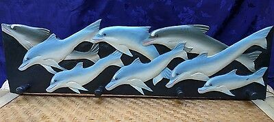 Hand Carved and Painted Wood Dolphin Towel Rack