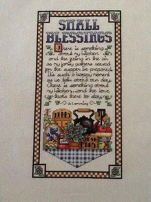 Handmade Completed Unframed Cross Stitch -Small Blessings