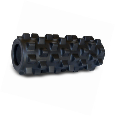 Rumble Roller Half Size Extra Firm Black - Textured Muscle Foam Roller Manipulat