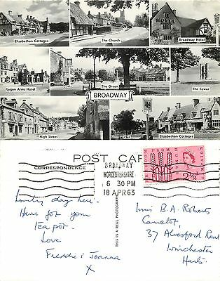 s08122 Broadway, Worcestershire, England RP postcard posted 1963 stamp