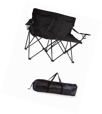 Trademark Innovations DBSEAT-PR-BL Loveseat Style Double Camp Chair with Steel F