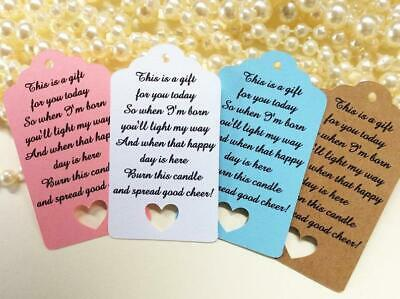 10 Kraft Gift Tags Baby Shower Birth Candle Tag Favour Bomboniere