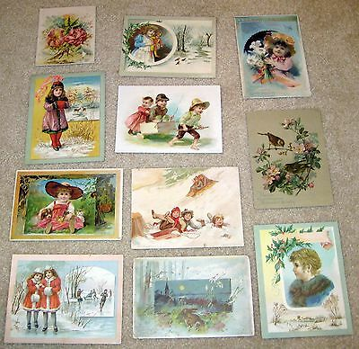 Christmas Easter Missummer Greeting Lion Coffee Trade Card lot 1890s w/Children
