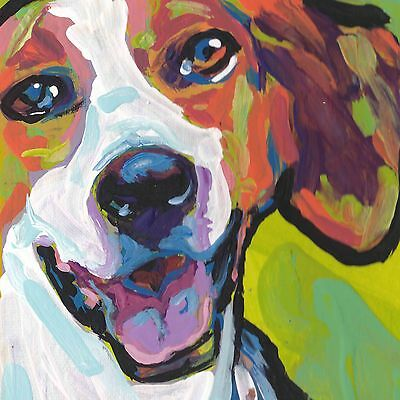 """American Foxhound dog portrait print of bright pop art Painting colorful 12x12"""""""