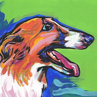 """Borzoi Russian Wolfhound Dog print of bright colors pop art painting 8x8"""""""