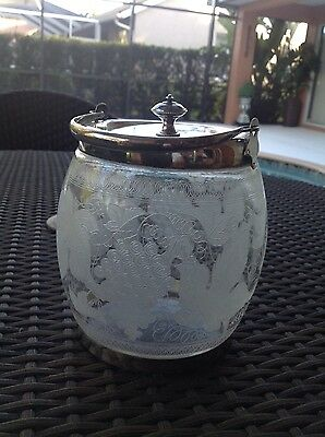 Beautifully Etched Glass Biscuit Jar Sheffield Plate Hallmarked