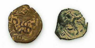 2 copper Spanish colonial pirate cob treasure coins good detail 1600's-1700's