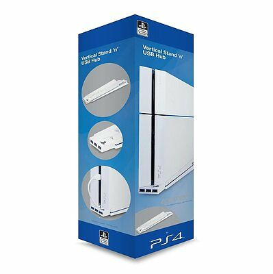 Playstation 4 Officially Licensed Vertical Stand & USB Hub - White (PS4)