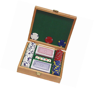 Trademark Poker 100 Pro Clay Casino Chips with Beautiful Solid Oak Case Poker Ch