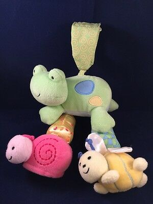 Carter's Animals Pastel Hanging Crib Stroller Play Toy Baby Girl Snail Bee