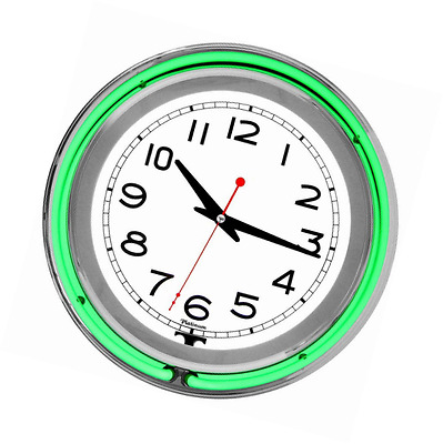 Trademark 99-1099GRN 14-Inch Double Ring Neon Clock Green Outer White Inner Neon