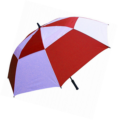 RainStoppers W060RDW Double Canopy Golf Umbrella, 62-Inch (Red and White)
