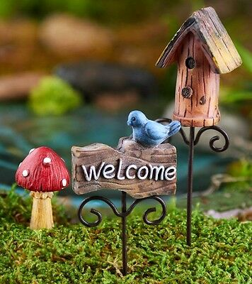 3 piece SET Miniature FAIRY GARDEN PICKS w/ BIRDHOUSE MUSHROOM & WELCOME SIGN