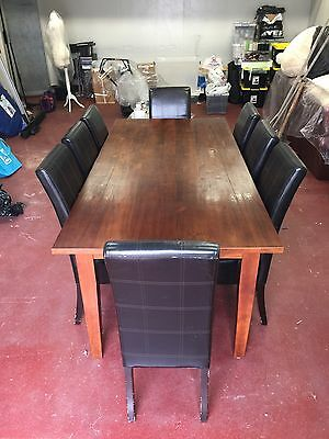 8 Seater Dining Setting, Hardwood Table, Leather Seats