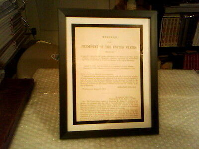Abe Lincoln Printed Signature Original Framed 2 Page White House Document -1863