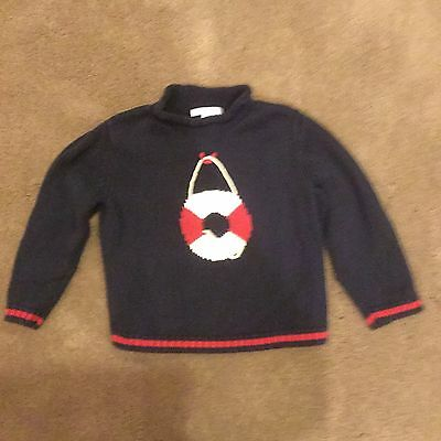 Janie and Jack Boys' Sweater with Life Preserver Nautical EUC 3T