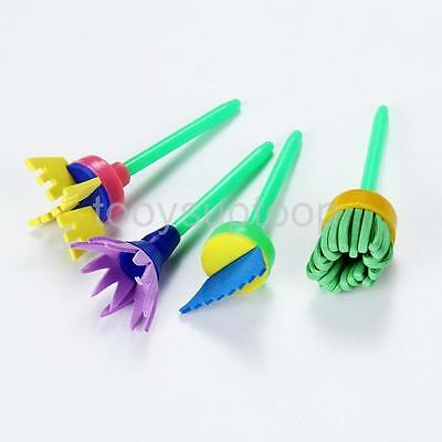 4Pcs Creative Flower Stamp Sponge Brush Set Art Supplies For Kids Interest