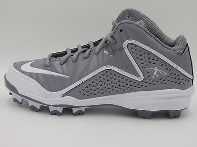Nike Air Swingman MVP 2 MCS Mid Baseball Cleats(Molded),Gray/White,Men's 8.5