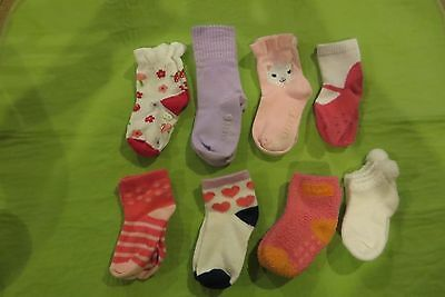 Toddler Girls 8 Pairs Of Very Nice Socks Various Brands Size 18-24 Months Euc!