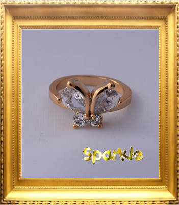 Beautiful Girls Gold Crystal Butterfly Ring 5-7 years size 5 FREE POST Signet