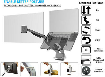 Dual Screen: Laptop Mount and Monitor Arms Stand with Arm and Desk Clamp