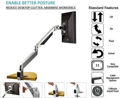 Single LCD Monitor Arms Stand with Arm and Desk Clamp