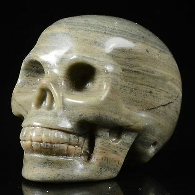 """1.89""""Natural Butter Stone Hand Carved Smiling Skull,Collectibles 22R95"""