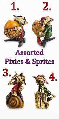 CHOICE OF 4 PIXIES or SPRITES for FAIRY GARDEN w/ ACORN NUTS, SHELL, & STUMP