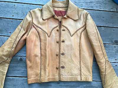 Vintage 1970s North Beach Leather Whipstitch Jacket 38-40- mens