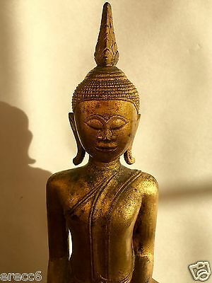 Antique Tall Gilt-Wood Seated Buddha Figure On A Long Pedestal Base, 19/20Th C