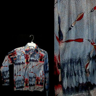 Vtg 70s Novelty Disco Shirt 8-9 Blue & Red Poly Throwing Darts Butterfly Collar