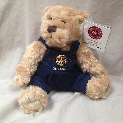 """Hard Rock Cafe Brown Teddy Bear In Blue Overalls 7.5"""" Stuffed Plush Doll W/ Tags"""