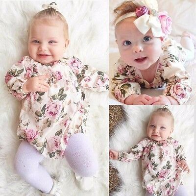 Baby Girls Floral Clothes Long Sleeve Bodysuit Romper Jumpsuit Sunsuit Babygrows