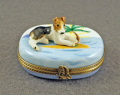New French Limoges Trinket Box Cute Fox Terrier Dog Puppy On Tropical Beach