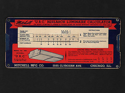 OPC Vintage Mitchell URC Reaseach Luminaire Paper Mechanical Calculator