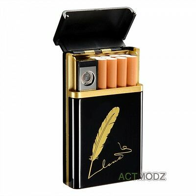 Black Arc USB Electric Rechargeable Flameless Lighter Cigar Cigarette Box SK