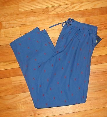Ralph Lauren Mens Blue with Red Riders 100% Cotton PJ Pajama Pants L NWT