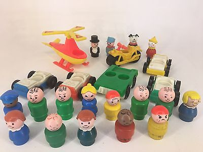 Vintage Fisher Price - Little People - Helicopter, Bike, Cars & People Large Lot