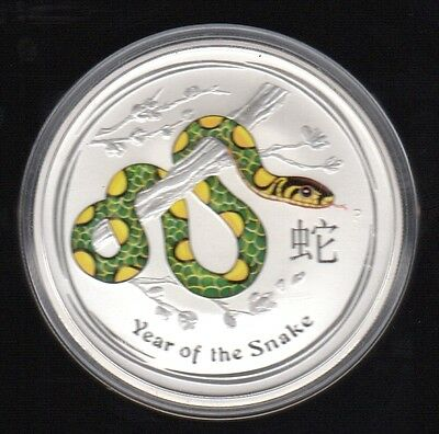 2013 Australia Year Of The Snake 2 Dollars 2 Oz Color .999 Silver Proof Coin2 !!