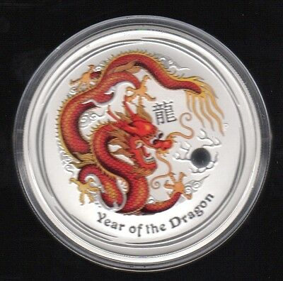 2012 Australia Year Of The Dragon 2 Dollars 2 Oz Color .999 Silver Proof Coin !!