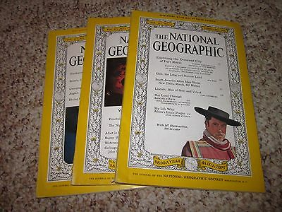 Lot Vintage Magazines (1960) National Geographic Magazine (3 Issues) Back Issues
