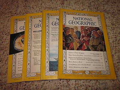 Lot Vintage Magazines (1962) National Geographic Magazine (4 Issues) Back Issues