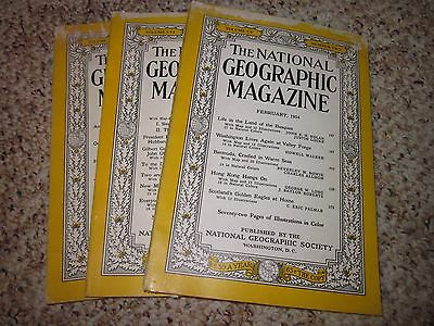 Lot Vintage Magazines (1954) National Geographic Magazine (3 Issues) Back Issues