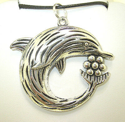 "New  Large  Beautiful  3-D  DOLPHIN  Silver-tone Pendant  18"" - 20"" Necklace"