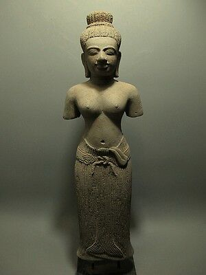KHMER SCULPTURE SANDSTONE FEMALE DEITY FIGURE ANGKOR 'BAPHOUN' STYLE 11/12th C
