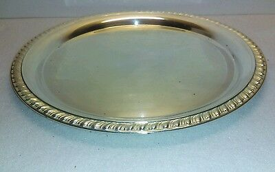 "Leonard 12"" Silver Plated Round Serving Platter Rope Edge"