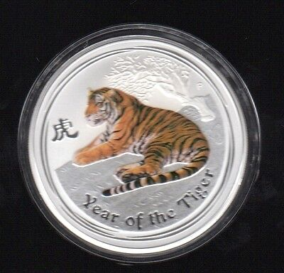 2010 Australia Year Of The Tiger 1 Dollar 1 Oz Color .999 Silver Proof Coin2 !!